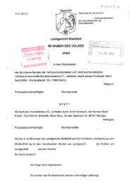 Urteil des LG Bielefeld zum Weiterverkauf von eBooks vom ... - vzbv