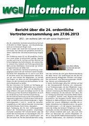 Bericht über die 24. ordentliche Vertreterversammlung am 27.06.2013