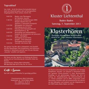 Klosterhören - Cistercienserinnen-Abtei Lichtenthal