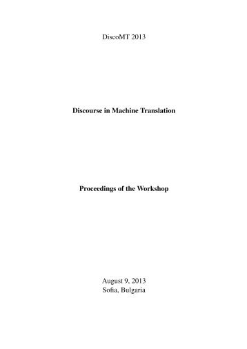 Proceedings of the Workshop on Discourse in Machine Translation