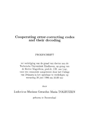 Cooperating error-correcting codes and their decoding - Technische ...