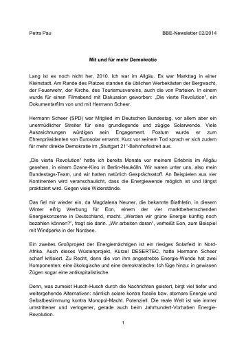 Petra Pau BBE-Newsletter 02/2014 Mit und für mehr Demokratie ...