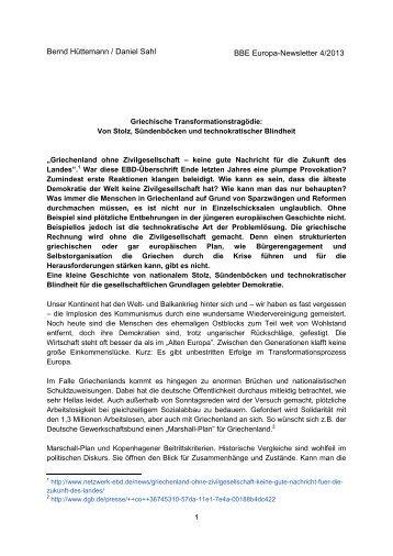 Griechische Transformationstragödie - BBE