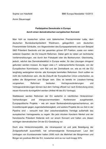 Partizipative Demokratie in Europa durch einen demokratischen ...