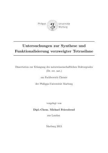 Untersuchungen zur Synthese und ... - Uni-marburg.de