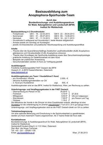 Basisausbildung zum Anoplophora-Spürhunde-Team - BFW