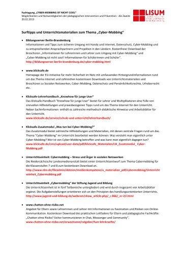 Cyber-Mobbing - Bildungsserver Berlin - Brandenburg