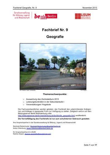Fachbrief Nr. 9 Geografie - Bildungsserver Berlin - Brandenburg