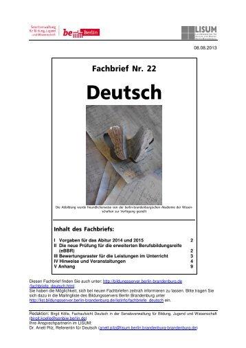 Fachbrief Nr. 22 - Deutsch - Bildungsserver Berlin - Brandenburg
