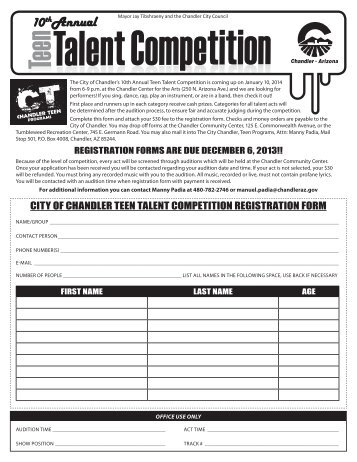 Teen Talent Competition Registration Form 2014 ... - City of Chandler
