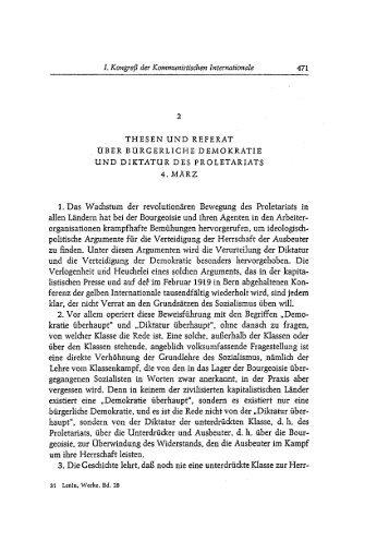 Thesen und Referat über die bürgerliche Demokratie und Diktatur ...