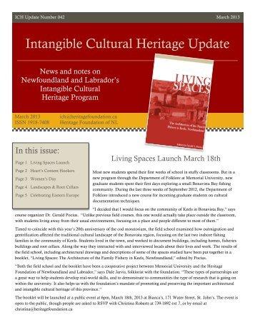 Intangible Cultural Heritage Update - Memorial University of ...