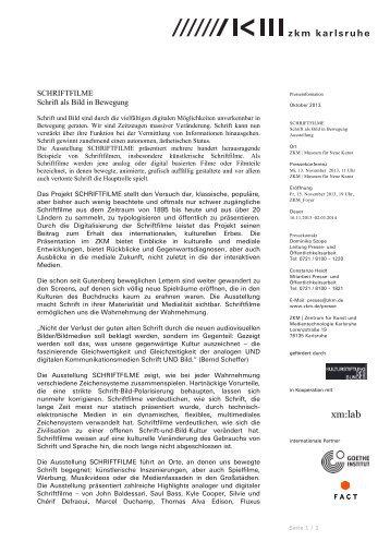 SCHRIFTFILME Schrift als Bild in Bewegung - ZKM