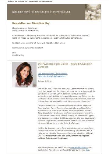 Newsletter 05/2013 - Weshalb Glück kein Zufall ist