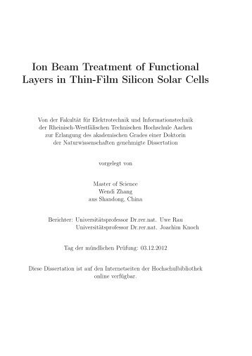 Ion Beam Treatment of Functional Layers in Thin-Film Silicon Solar ...