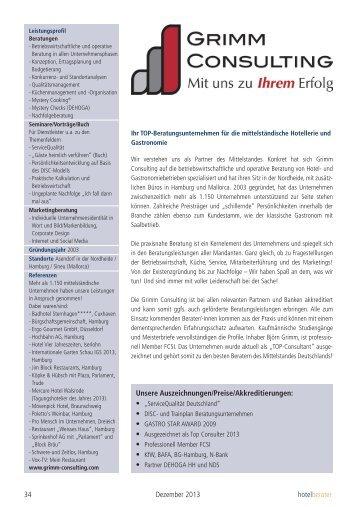 Betriebsberatung Grimm Consulting - DEHOGA Niedersachsen