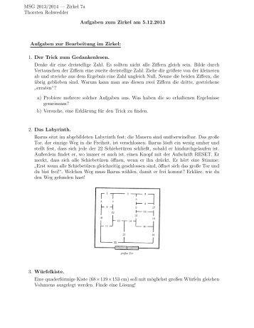 Zirkel am 5.12.13 - Mathematik und ihre Didaktik