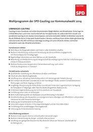 Wahlprogramm der SPD Gauting zur Kommunalwahl 2014 - dfxnet.de