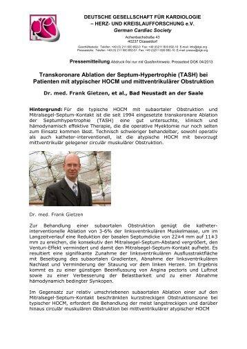 Pressetext als PDF - Deutsche Gesellschaft für Kardiologie