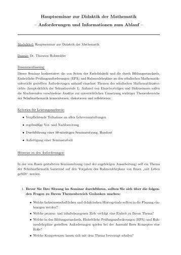 Hinweise zum Seminar und Liste möglicher Themen