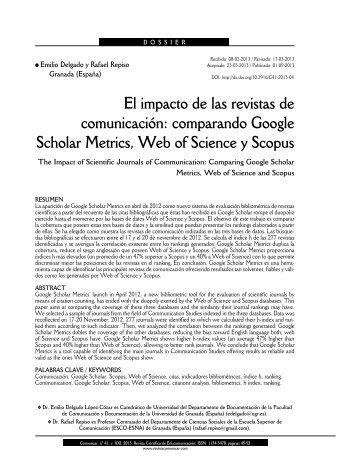 El impacto de las revistas de comunicación: comparando Google ...