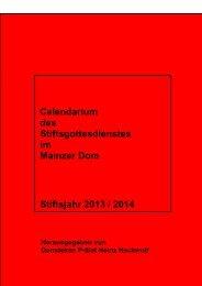Calendarium des Stiftsgottesdienstes im Mainzer Dom - Bistum Mainz