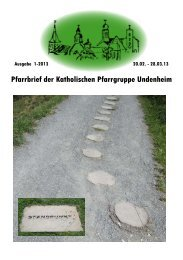 Pfarrbrief der Katholischen Pfarrgruppe Undenheim - Bistum Mainz