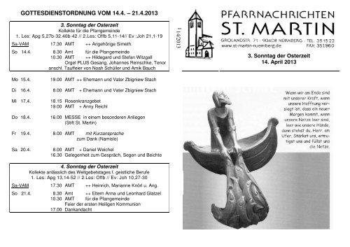Pfarrnachrichten 14.4.2013