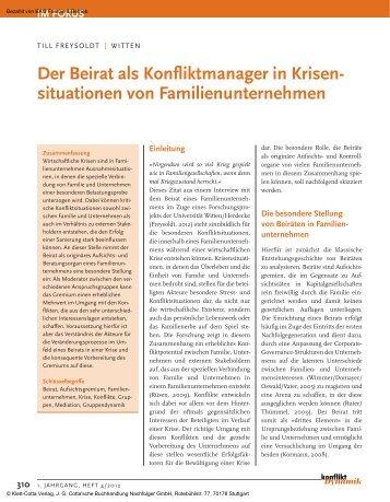 Der Beirat als Konfliktmanager in Krisensituationen von ...