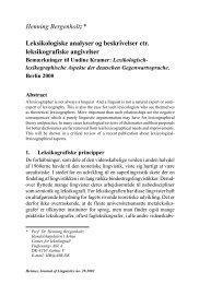 Henning Bergenholtz* Leksikologiske analyser og - Hermes ...