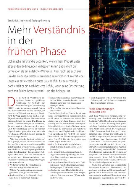 CADFEM Journal 01_2013 Mehr Verständnis in ... - Dynardo GmbH