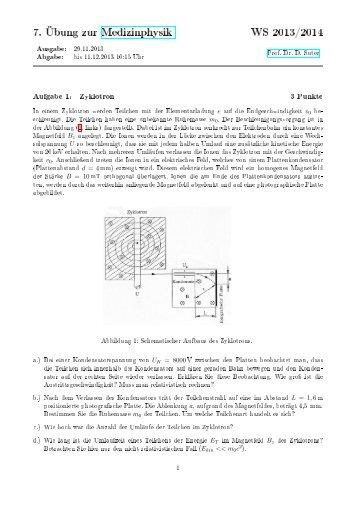 7. Übung zur Medizinphysik WS 2013/2014
