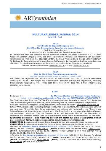 kulturkalender januar 2014 - Embajada de la República Argentina ...