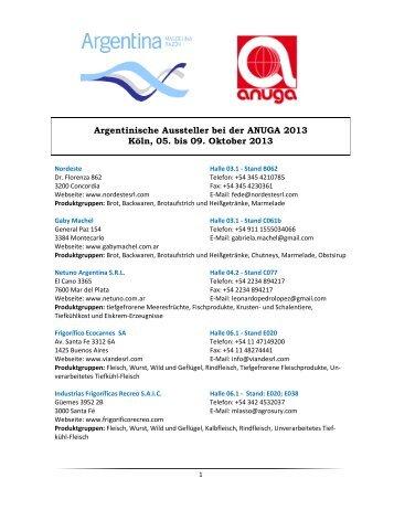 Argentinische Aussteller bei der ANUGA 2013 Köln, 05. bis 09 ...