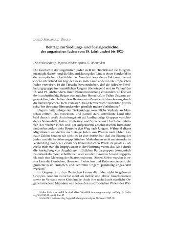 und Sozialgeschichte der ungarischen Juden vom 18 ... - EPA