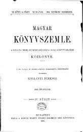 Magyar Könyvszemle Új folyam XI.kötet, 4. füzet 1903 Október ... - EPA