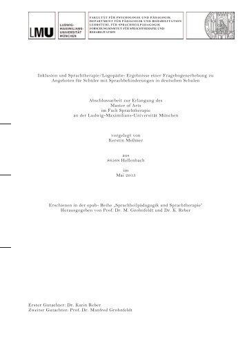 Inklusion und Sprachtherapie/Logopädie: Ergebnisse einer ...