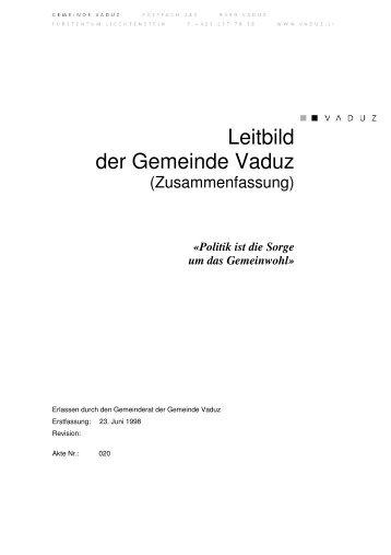 Leitbild der Gemeinde Vaduz