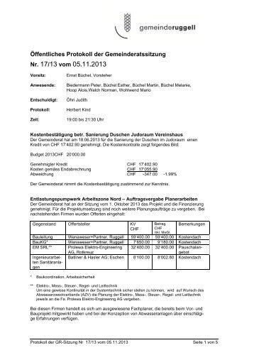 Öffentliches Protokoll der Gemeinderatssitzung Nr. 17/13 vom 05.11 ...