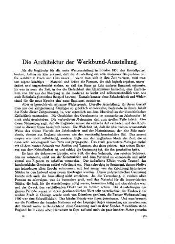 Die Architektur der Werkbund-Ausstellung.