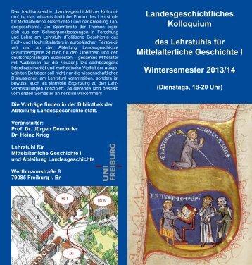 Landesgeschichtliches Kolloquium des Lehrstuhls für ...