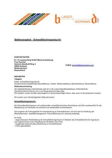 Stellenangebot - Schweißfachingenieur/in