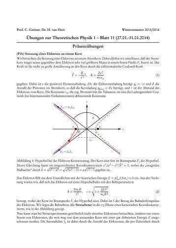 Übungen zur Theoretischen Physik 1 – Blatt 11 (27.01.-31.01 ... - FIAS
