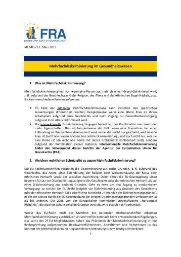 Mehrfachdiskriminierung im Gesundheitswesen - Europa