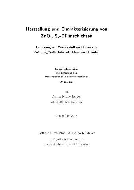 Herstellung und Charakterisierung von ZnO1-xSx-Dünnschichten ...