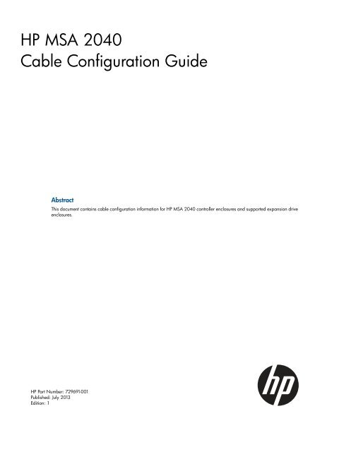 HP MSA 2040 Cable Configuration Guide - Hewlett Packard