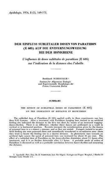 (e 605) auf die entfernungsweisung bei der honigbiene - HAL