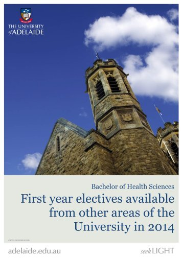 First Year Electives Guide - Faculty of Health Sciences