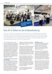 (Schweiz) AG auf der Holz 2013 in Basel - HOMAG Group