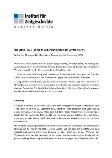 Elke Scherstjanoi: Gutachten über Ilse Stöbe - Institut für ...
